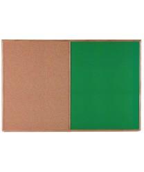 Aarco CO4872G Combination Corkboard / Green Chalkboard with Oak Frame 48