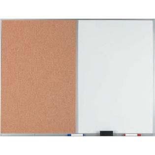 "Aarco WDCO3648 Combination Corkboard / Melamine Markerboard with Aluminum Frame 36""x 48"""
