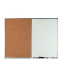"""Aarco WCO2436 Combination Corkboard / Melamine Markerboard with Oak Frame 24"""" x 36"""""""