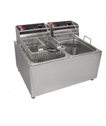 Grindmaster-Cecilware EL2X25 Commercial Countertop Electric Deep Fryer with Two 15 Lb. Tanks - 250V