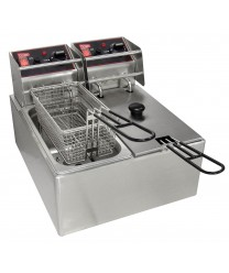 Grindmaster-Cecilware EL2X6 Commercial Countertop Electric Deep Fryer with Two 6 Lb. Tanks - 120V