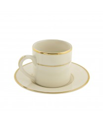 10 Strawberry Street CGLD0428 Cream Double Gold Can Demitasse Cup and Saucer 3 oz. - Case of 24