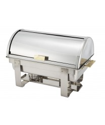 Winco C-5080 Dallas Full Size Roll Top Chafer with Gold Accents 8 Qt.