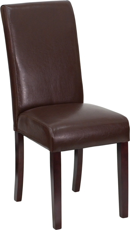 Flash Furniture Dark Brown Leather Upholstered Parsons Chair [BT-350-BRN-LEA-008-GG]