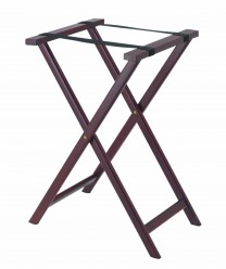 Aarco TS-3 Dark Stain Wood Folding Tray Stand
