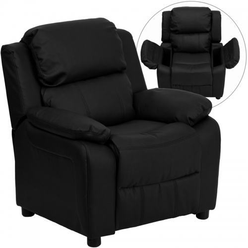 Flash Furniture Deluxe Heavily Padded Contemporary Black Leather Kids Recliner with Storage Arms [BT-7985-KID-BK-LEA-GG]