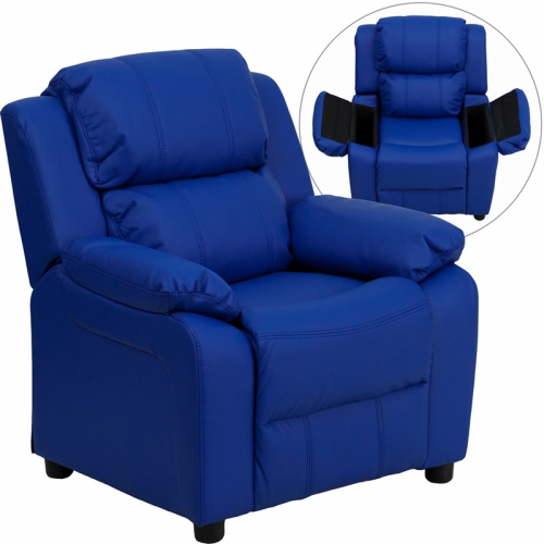 Flash Furniture Deluxe Heavily Padded Contemporary Blue Vinyl Kids Recliner with Storage Arms [BT-7985-KID-BLUE-GG]