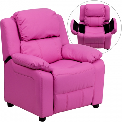 Flash Furniture Deluxe Heavily Padded Contemporary Hot Pink Vinyl Kids Recliner with Storage Arms [BT-7985-KID-HOT-PINK-GG]