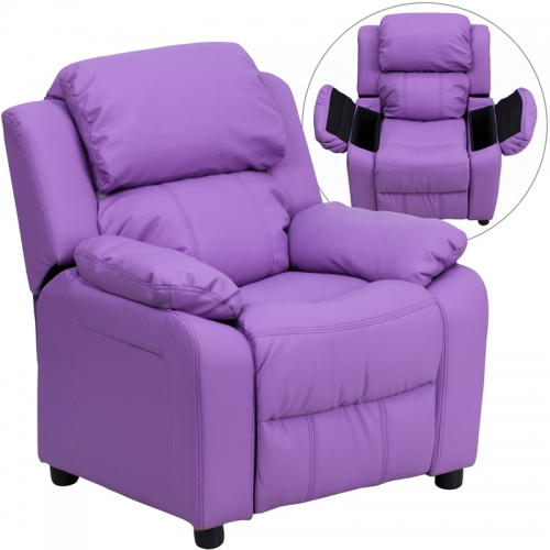 Flash Furniture Deluxe Heavily Padded Contemporary Lavender Vinyl Kids Recliner with Storage Arms [BT-7985-KID-LAV-GG]