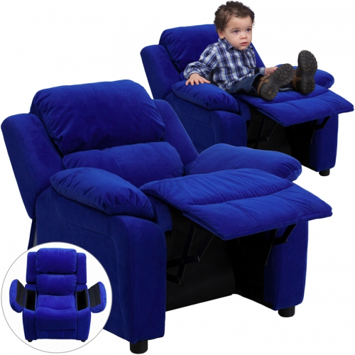 Flash Furniture Deluxe Heavily Padded Contemporary Blue Microfiber Kids Recliner with Storage Arms [BT-7985-KID-MIC-BLUE-GG]
