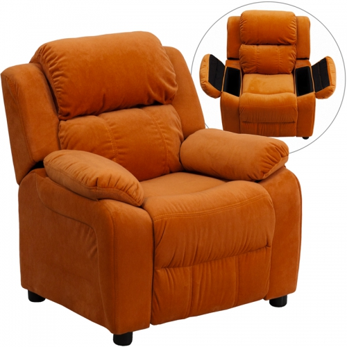 Flash Furniture Deluxe Heavily Padded Contemporary Orange Microfiber Kids Recliner with Storage Arms [BT-7985-KID-MIC-ORG-GG]