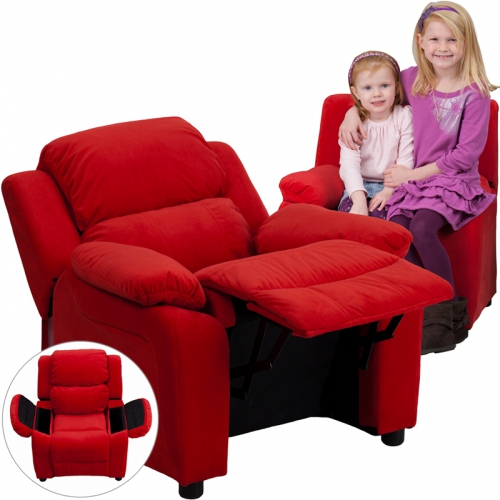 Flash Furniture Deluxe Heavily Padded Contemporary Red Microfiber Kids Recliner with Storage Arms [BT-7985-KID-MIC-RED-GG]