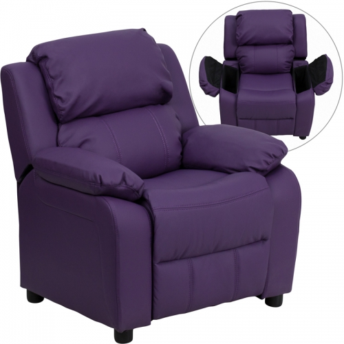 Flash Furniture Deluxe Heavily Padded Contemporary Purple Vinyl Kids Recliner with Storage Arms [BT-7985-KID-PUR-GG]