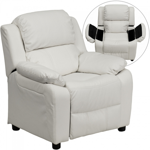 Flash Furniture Deluxe Heavily Padded Contemporary White Vinyl Kids Recliner with Storage Arms [BT-7985-KID-WHITE-GG]