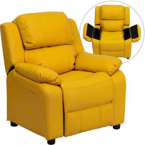 Flash Furniture Deluxe Heavily Padded Contemporary Yellow Vinyl Kids Recliner with Storage Arms [BT-7985-KID-YEL-GG]