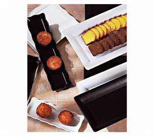 "GET Enterprises ML-129-BK Bake and Brew Black Rectangular Display Tray, 21""x 5-1/4""(1 Dozen)"