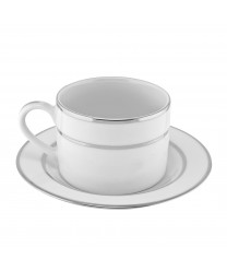10 Strawberry Street DSL0009 Double Silver Line Cup and Saucer Set 6 oz. - Case of 24