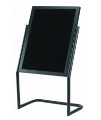 Aarco P-17BK Dual Capability Neon Markerboard and Menu / Poster Holder- Black Finish 48'' x 25''