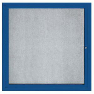 """Aarco ODCC3636RB 1 Door Outdoor Enclosed Bulletin Board with Blue Powder Coated Aluminum Frame Outdoor 36"""" x 36"""""""