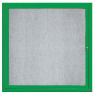 "Aarco ODCC3636RG 1 Door Outdoor  Enclosed Bulletin Board with Green Powder Coated Aluminum Frame 36"" x 36"""