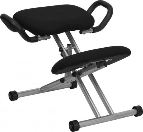 Flash Furniture Ergonomic Kneeling Chair in Black Fabric with Handles [WL-1429-GG]