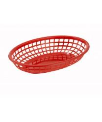 Winco PFB-10R Oval Fast Food Basket, Red  (1 Dozen)