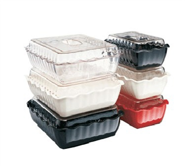 "Winco CRK-10R Deli Crock Food Storage Container, Red 10"" x 7"" x 3"""