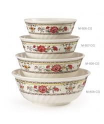 GET Enterprises M-606-CG Garden Dynasty Melamine Fluted Bowl, 24 oz. (1 Dozen)