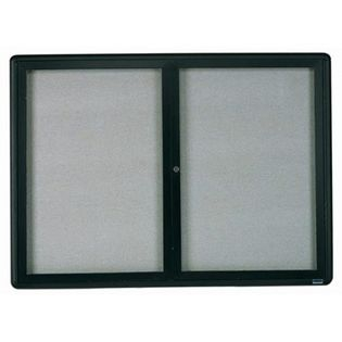 Aarco RAB3648BL Radius Design Enclosed Bulletin Board with Graphite Frame 36
