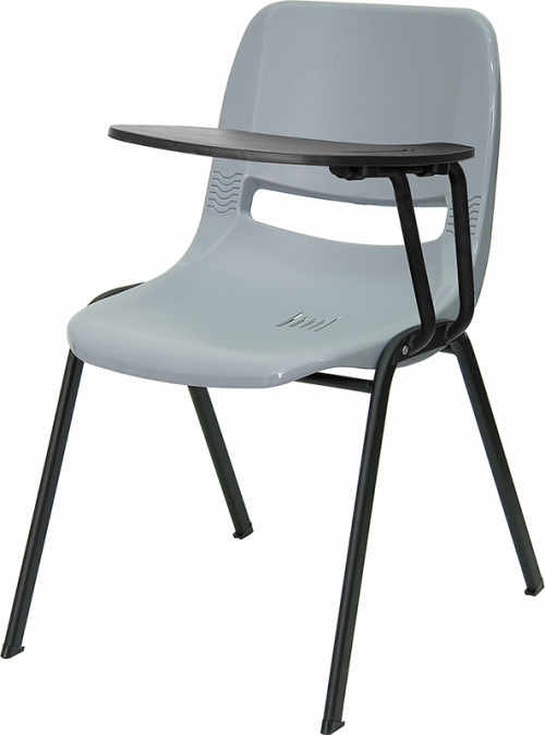 Flash Furniture Gray Ergonomic Shell Chair with Left Handed Flip-Up Tablet Arm [RUT-EO1-GY-LTAB-GG]