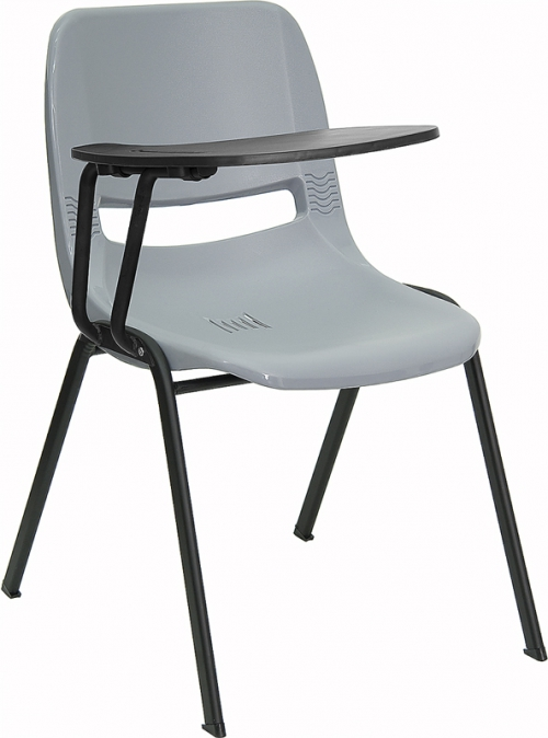 Flash Furniture Gray Ergonomic Shell Chair with Right Handed Flip-Up Tablet Arm [RUT-EO1-GY-RTAB-GG]