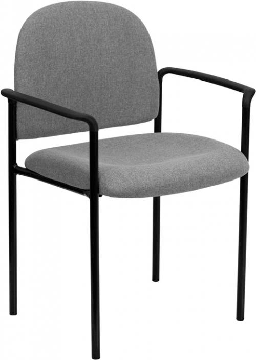Flash Furniture Gray Fabric Comfortable Stackable Steel Side Chair with Arms [BT-516-1-GY-GG]