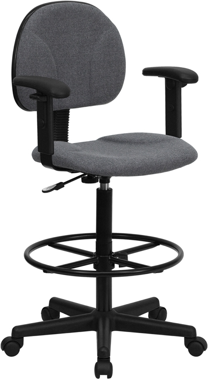 Flash Furniture Gray Fabric Ergonomic Drafting Stool with Arms [BT-659-GRY-ARMS-GG]