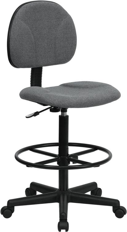 Flash Furniture Gray Fabric Ergonomic Drafting Stool [BT-659-GRY-GG]