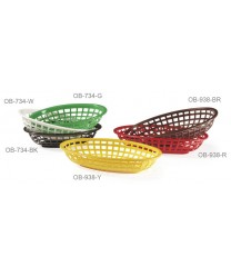 "GET Enterprises OB-938-BR Green Oval Basket, 9-1/2""x 6""(3 Dozen)"