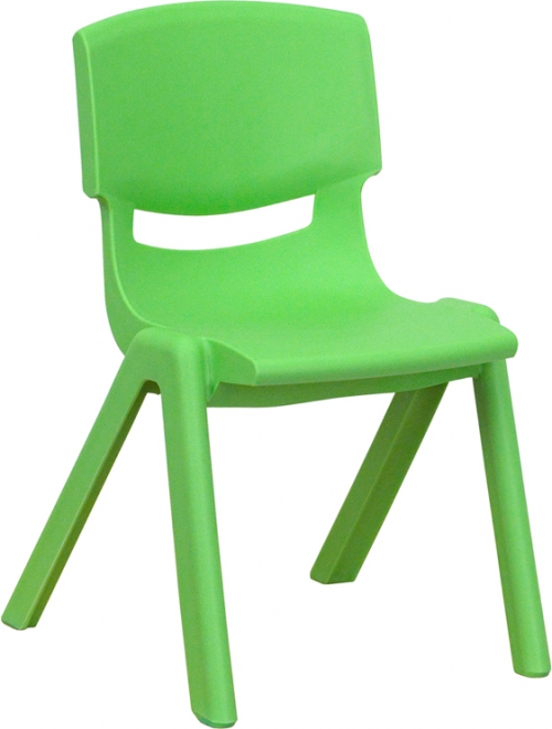 Flash Furniture Green Plastic Stackable School Chair with 12'' Seat Height [YU-YCX-001-GREEN-GG]