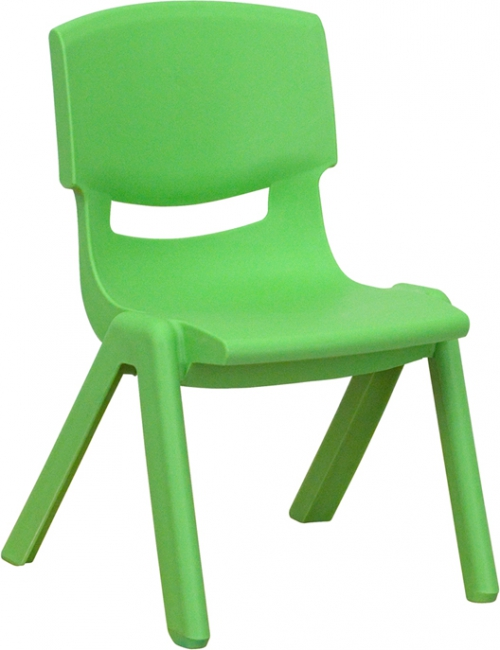 Flash Furniture Green Plastic Stackable School Chair with 10.5'' Seat Height [YU-YCX-003-GREEN-GG]