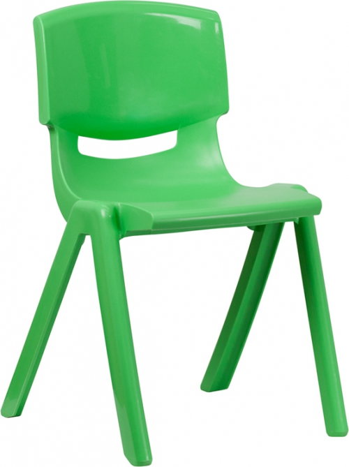 Flash Furniture Green Plastic Stackable School Chair with 18'' Seat Height [YU-YCX-007-GREEN-GG]