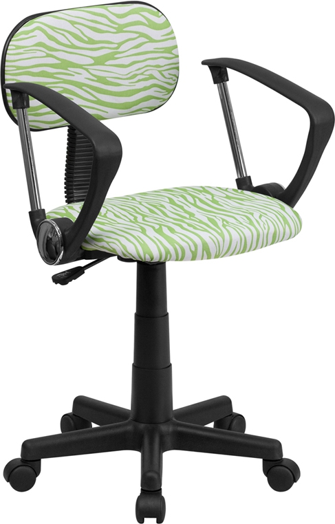 Flash Furniture Green and White Zebra Print Computer Chair with Arms [BT-Z-GN-A-GG]