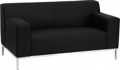 Flash Furniture HERCULES Definity Series Flash Furniture Contemporary Black Leather Love Seat with Stainless Steel Frame [ZB-DEFINITY-8009-LS-BK-GG]