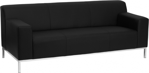 Flash Furniture HERCULES Definity Series Flash Furniture Contemporary Black Leather Sofa with Stainless Steel Frame [ZB-DEFINITY-8009-SOFA-BK-GG]