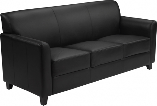 Flash Furniture HERCULES Diplomat Series Black Leather Sofa [BT-827-3-BK-GG]