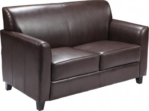 Flash Furniture HERCULES Diplomat Series Brown Leather Love Seat [BT-827-2-BN-GG]