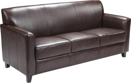 Flash Furniture HERCULES Diplomat Series Brown Leather Sofa [BT-827-3-BN-GG]