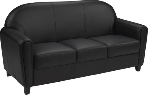 Flash Furniture HERCULES Envoy Series Black Leather Sofa [BT-828-3-BK-GG]