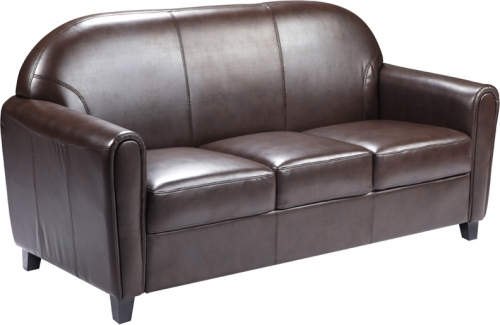 Flash Furniture HERCULES Envoy Series Brown Leather Sofa [BT-828-3-BN-GG]
