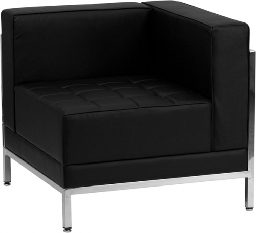 Flash Furniture HERCULES Imagination Series Flash Furniture Contemporary Black Leather Right Corner Chair with Encasing Frame [ZB-IMAG-RIGHT-CORNER-GG]