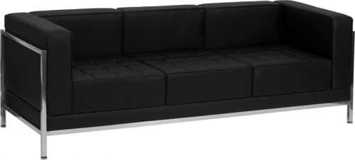 Flash Furniture HERCULES Imagination Series Flash Furniture Contemporary Black Leather Sofa with Encasing Frame [ZB-IMAG-SOFA-GG]