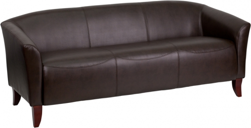 Flash Furniture HERCULES Imperial Series Brown Leather Sofa [111-3-BN-GG]