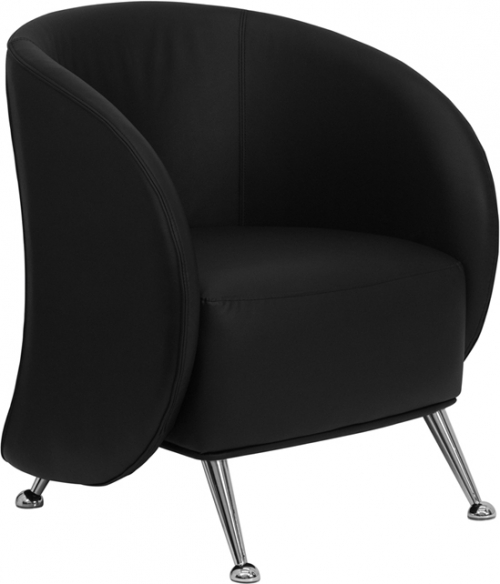 Flash Furniture HERCULES Jet Series Black Leather Reception Chair [ZB-JET-855-BLACK-GG]